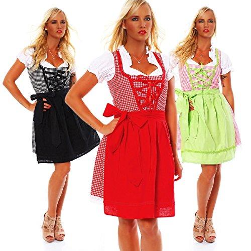 Costume pour femme 3 10590 fashion4Young mini robe tablier tlg.trachtenkleid chemisier costume fête de la bière (oktoberfest) - Noir/blanc