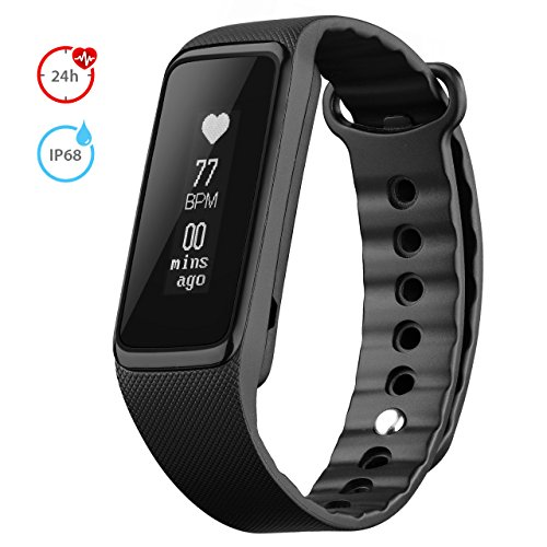 Fitness Tracker Heart Rate Monitor, Weloop 3ATM(>IP68) 30M Swimming Waterproof 24-Hour Auto Activity Tracker Bracelet, Walking/Running Pedometer, Sleep Monitor for iPhone/iOS/Android Smartphones-Black