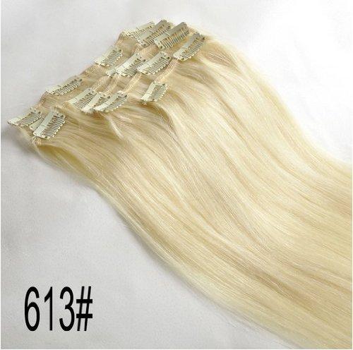 71,1 cm Clips en cheveux humains Remy Extension fixe droite 613 Blond clair 120 g