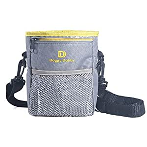 Upgraded Dog Treat Training Pouch,Adjustable and Removable Extra Long Waist Belt Shoulder Strap,Improved Poop Bag Dispenser,Easily Carries Treats, Toys, Iphone 6 Plus,etc.Grey