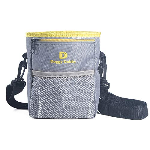 Upgraded Dog Treat Training Pouch,Adjustable and Removable Extra Long Waist Belt Shoulder Strap,Improved Poop Bag Dispenser,Easily Carries Treats, Toys, Iphone 6 Plus,etc.Grey -