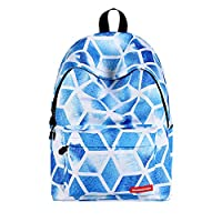 Cupcinu Diamonds Pattern Backpack School Backpack Diamond Laptop Bag 40 * 30 * 17cm Polyester Blue