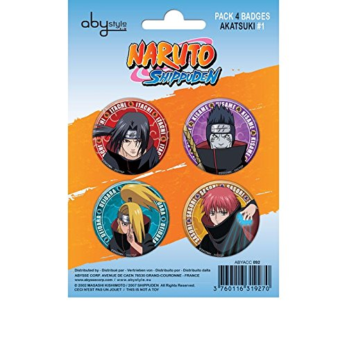 Abystyle - ABYACC092 - Déguisement - Naruto Shippuden - Pack de Badges - Akatsuki 1