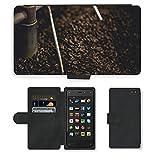 PU Leder Wallet Case Folio Schutzhülle // M00237120 Kaffeebohnen Schleifen Roasting // Amazon Fire Phone