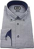 Bugatti Hemd modernfit blau gemustertes Hemd Langarm Button-Down Kragen ohne Tasche Size M