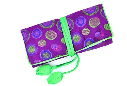 Isuperb ®-Rotolo portagioie da viaggio a pois, in broccato di seta elegante e Bold-Custodia da viaggio Polka Dot