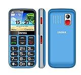 YHHK Teléfono Celular Desbloqueado para Personas Mayores, Teléfono SOS para Personas Mayores Botón Grande Gran Volumen Base De Carga Fácil De Usar Incluida, Radio FM gsm Teléfono 3G Desbloqueado,Azul