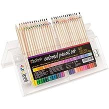 Colore Matite colorate – Set di pastelli temperati per colorare comprensivo di gomma e temperamatite - Ideali per la scuola, per adulti e bambini - 60 colori - Confezione Regalo Riutilizzabile