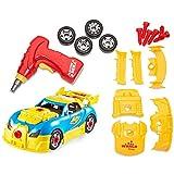 Eizur Montage Spielzeug Auto Konstruktionsspielzeug Rennwagen Spielzeugauto Auseinandernehmen Take Apart Toy Racing Car Bau Dein eigenes Auto-Set mit Sounds Lichter für 3-jährige Jungs und Hoch