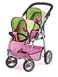 Bayer Design 2654500 Zwillingspuppenwagen für Puppen, 46 cm, rosa/grün
