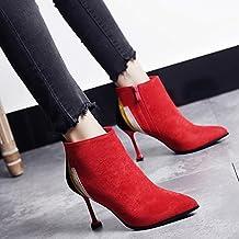 ZHIRONG Las botas femeninas de moda otoño e invierno mantienen calientes Botas descubiertas de tacón alto