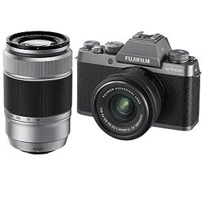 Fujifilm X-T100 Mirrorless Digital Camera, Dark Silver with XC15-45mmF3.5-5.6 OIS PZ Lens- Bundle with XC 50-230mm (76-350mm) F4.5-6.7 OIS II Lens Silver