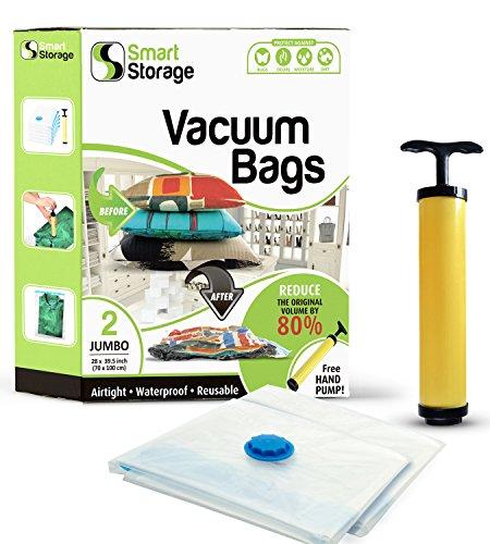 Kompakt-staubsauger Ersatz Tasche (2 Stück Platzsparende Vakuumbeutel Set | Vakuum Aufbewahrungsbeutel mit Reise-Pumpe | Luftdichte Aufbewahrungsbeutel | Aufbewahrungsbeutel zum verstauen von Kissen | Hand-Vakuumbeutel zum kompakten ve)