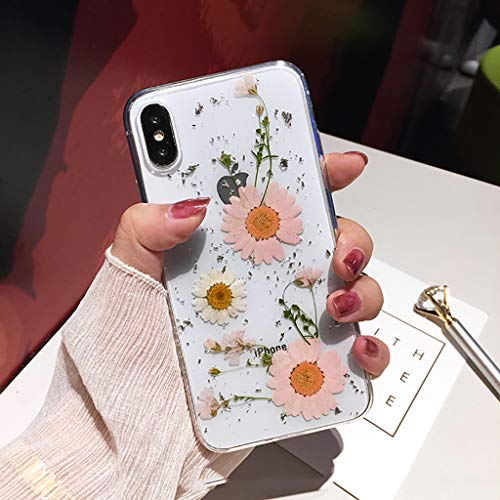 Bakicey iPhone Xr Hülle, iPhone Xr Handyhülle Getrocknete blumen Kristall Gel Schutzhülle Ultradünn Handgefertigt Immerwährende Blume Bumper Case Cover Schale Schutz hülle für iPhone Xr(N)