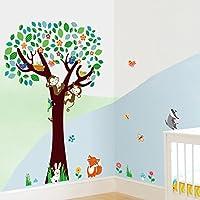 Skyllc® Forest Animals Flying Bird scimmia appesa intorno colorato albero creativo murale arte impermeabile parete della decorazione domestica per Camera dei bambini Camera dei bambini Cortile bambino decorazione domestica
