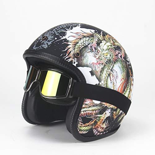 AA100 Casco Moto Harley Mezzo Casco 3/4 Open Face Casco Stagione DOT omologazione + Maschera antiappannamento Casco Pilota Uomo e Donna Mezzo Casco (3 Modelli),3,XL