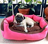 #4: Petitude Reversable Dual Ultra Soft Velvet Bed For Dog & Cat-(Small,Pink - Brown)