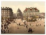 OFA Photochroms Poster Blick auf München, Retro-Poster, zeigt den Ausblick vom Münchner Karlstor Richtung Bahnhof, Bayern, Deutschland, groß, A3, 41x29cm, auf Leinwand