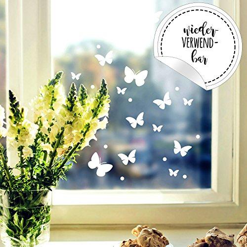 ilka parey wandtattoo-welt Fensterbild Schmetterlinge Set -WIEDERVERWENDBAR- Fensterdeko Frühling Fensterbilder Osterdeko M2349