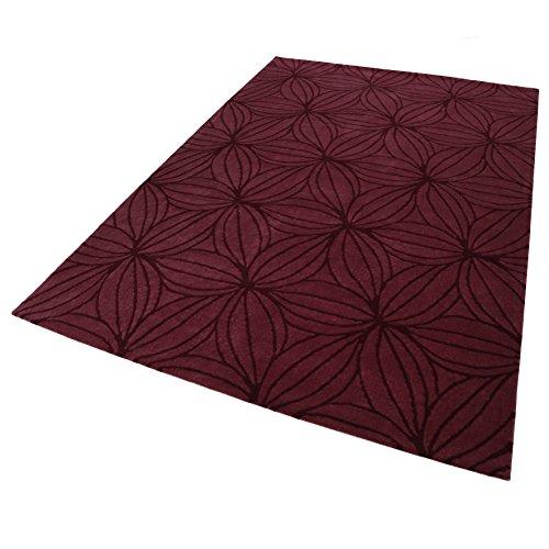 Esprit Home I Moderner Kurzflor Teppich - Läufer aus Wolle für Wohnzimmer, Flur, Schlafzimmer I Oria I ESP-4184-01 I Dunkel Rot Bordeaux I (70 x 140 cm) -