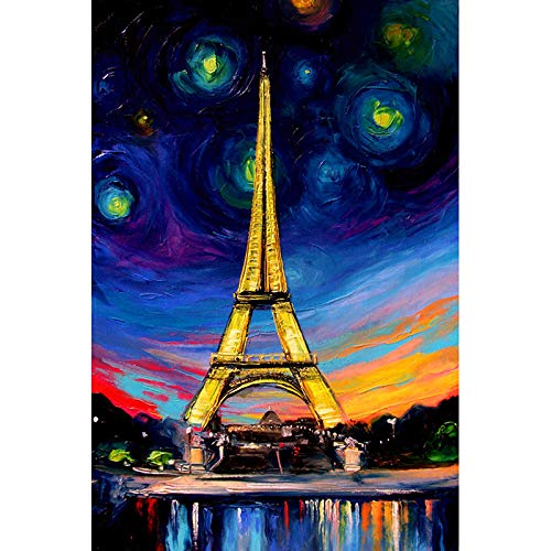 MRLZLT DIY 5D Diamond Painting Eiffel Tower Painting Crystal Rhinestone Embroidery Pictures Arts Rahmenlos Wohnkultur Geschenk 30x40cm (Tower-einfache Zeichnung Eiffel)