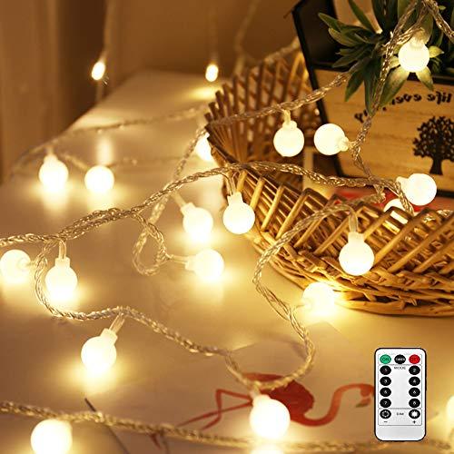 LED Kugel Lichterkette, Nasharia 50 LED Glühbirne Lichterkette Warmweiß IP65 Wasserdicht für Weihnachten, Hochzeit, Party, Zuhause sowie Garten, Balkon, Terrasse, Fenster, Treppe, ()