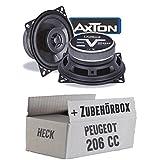 Peugeot 206 CC Heck - Lautsprecher Boxen Axton AE402F | 10cm 2-Wege Koax 100mm Auto Einbauzubehör - Einbauset