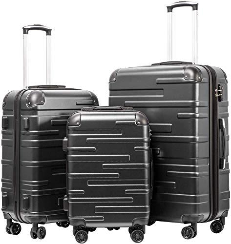 COOLIFE Hartschalen-Koffer Rollkoffer Reisekoffer Vergrößerbares Gepäck (Nur Großer Koffer Erweiterbar) ABS Material mit TSA-Schloss und 4 Rollen(Grau, Koffer-Set)