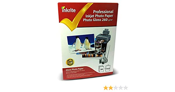 Inkrite PROFESSIONALE CARTA FOTO LUCIDO 260gsm 13cm x 18cm 5  X7 50 fogli