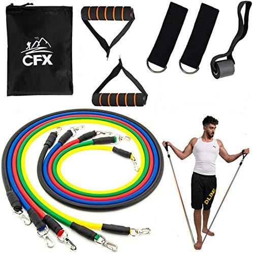 CFX Set di Fasce di Resistenza, Bande di Resistenza, 5 Fasce Elastiche Lattice + Maniglie, Ancoraggio da Porta & Gancio per Fissaggio, per Fitness,Stretching