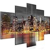 Bilder New York Wandbild 150 x 100 cm Vlies - Leinwand Bild XXL Format Wandbilder Wohnzimmer Wohnung Deko Kunstdrucke Orang 5 Teilig - MADE IN GERMANY - Fertig zum Aufhängen 014053a