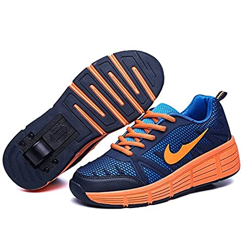 Wheel Shoes Birthday Shoes Roller Shoes With A Wheel Sport Trainer Kid Gift (13 Child UK, Orange)