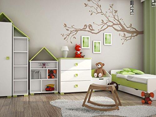 Kinderzimmer Komplett - Set B Daniel, 6-teilig, Farbe: Weiß / Grün (Mädchen Sechs Schublade Kommode)