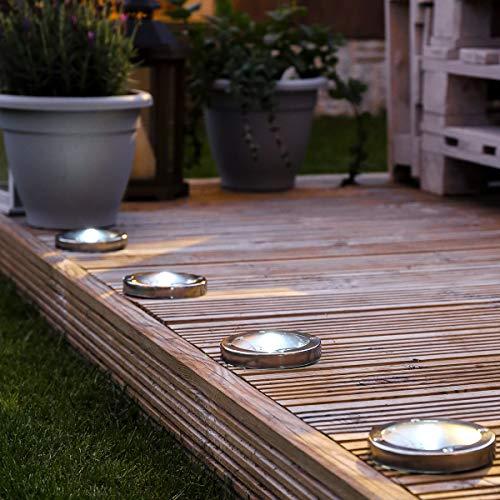 Festive Lights Lot de 4 Spots Solaires à LED Éclairage Blanc en Acier Inoxydable - PanneauSolaire Intégré - 11cm