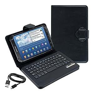 kwmobile Housse avec clavier QWERTY pour Samsung Galaxy Tab 4 7.0 avec support - Housse de protection en cuir synthétique pour tablette en noir
