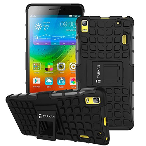 TARKAN Hard Armor Hybrid Rubber Bumper Flip Stand Rugged Back Case Cover For Lenovo A7000 / K3 Note - BLACK