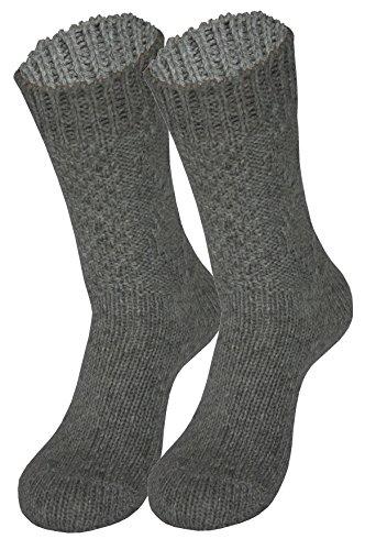 Tobeni 1 Paar Trachten Socken zu Dirndl und Lederhosen für Damen und Herren Farbe Raute Grau Grösse 35-38