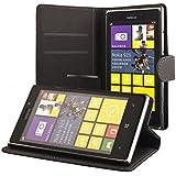ECENCE Nokia Lumia 925 SCHUTZ HÜLLE HANDY TASCHE CASE COVER KLAPP HÜLLE WALLET BRIEFTASCHE BOOK-STYLE MIT STANDFUNKTION STANDFUSS INKLUSIVE DISPLAYSCHUTZFOLIE schwarz 11030101