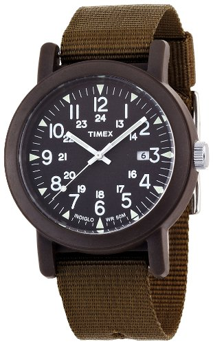 Timex Herren-Armbanduhr Analog-Anzeige Canvas-Halteband T2N363PF (Olive Canvas Strap)