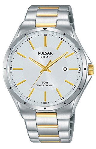 Pulsar Herren Analog Solar Uhr mit Edelstahl Armband PX3141X1