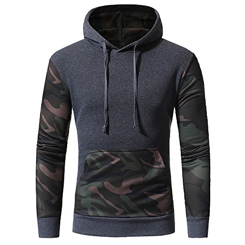 IMJONO Jacket,iHENGH Neujahrs Karnevalsaktion Herrenkleidung Men es Camouflage Long SleevePrint Hooded Sweatshirt Tops Jacket Coat Outwear(Large,Grau)