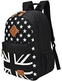 Teenager Union Jack Uk Flag School Shoulder Backpack With Star Pattern Book Bag Size One Size (Black) By Sporset