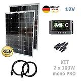 VIASOLAR 200W 12V Monokristallin Solaranlage PRO Solarmodul 2X100W deutsche Solarzellen