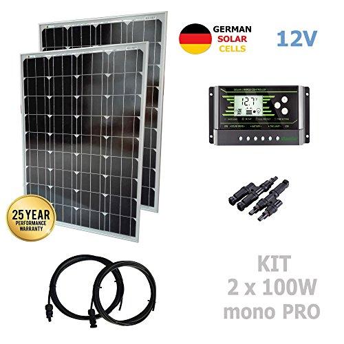 Kit 200W PRO 12V panel solar 2X100W monocristalino células alemanasComposición del Kit Solar:2X Panel solar monocristalino 100W 12V células alemanas 200WRegulador solar de 20A 12V/24V con display y 2 USB LCD VIASOLAREspecificaciones técnicas:2X Pane...