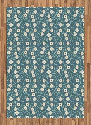 ABAKUHAUS Elfenbein und Blau Teppich, Weibliche Blumen, Deko-Teppich Digitaldruck, Färben mit langfristigen Halt, 80 x 150 cm, Türkis Elfenbein und Teal - Elfenbein Blumen-bereich Teppich