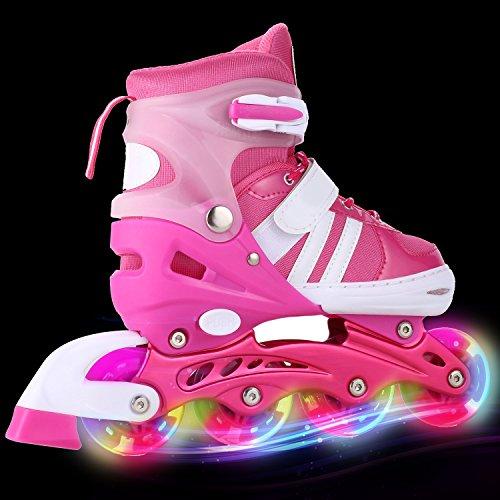 AMdirect Einstellbare Indoor Outdoor Leichte Inline Skates mit Vollblinkrad für Kinder Jungen Mädchen Canvas Inline Rollerblades (S: 31-34 / M: 35-38 / L: 39-42) (Rosa, 35-38)