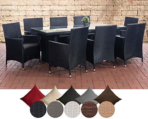 CLP Polyrattan Sitzgruppe Avignon Big | Garten-Set: 1x Tisch und 8 Gartenstühle inkl. Sitzauflagen | In Verschiedenen Farben erhältlich Rattanfarbe: Schwarz, Bezugfarbe: Anthrazit