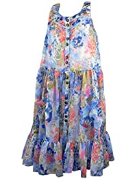 Next Muted Blue Floral Chiffon Sleeveless Dress with Buttoned Opening