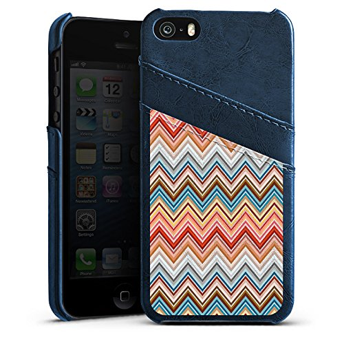 Apple iPhone 5s Housse Étui Protection Coque Zigzag Rétro Motif Étui en cuir bleu marine