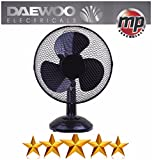 "Daewoo 12"" Electric Oscillating Worktop Desk Table Air Cooling Fan (Black)"
